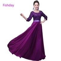 שמלות ערב שמלות סגול רויאל בלו הנצנצים Fishday אדום ארוך מיובא המפלגה Junior אמא של הכלה עם שרוול קייפ B45