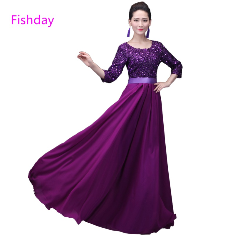 Día de pescado noche vestido púrpura azul real con lentejuelas largo ...