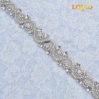 (5 야드) 도매 철 실버 신부 파란색 크리스탈 라인 석 아플리케 트림 웨딩 드레스 띠 벨트 RA3001