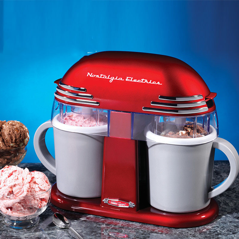 81801 Automatic fruit  Ice cream making machine with 2 cups 220V 20W elegant red square pan rolled fried ice cream making machine snack machinery