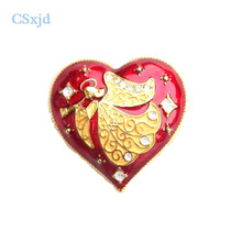 Csxjd Винтаж Ангел красное сердце брошь Стразы брошь женские аксессуары и украшения подарок