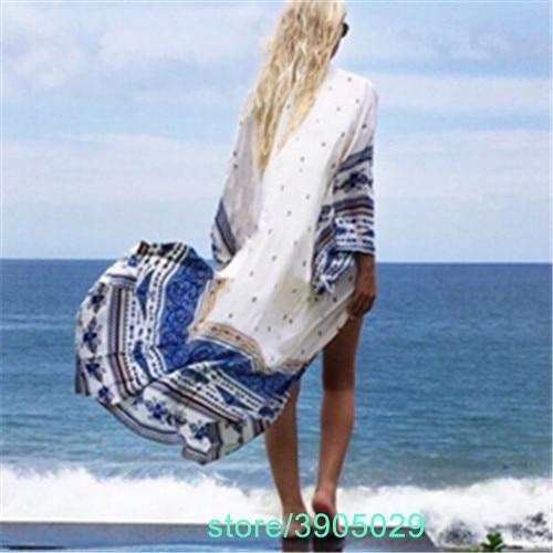 2018 Summer Blouse Bathing Suit Cover Ups Tunic Beach Kimono White Pareo Robe Floral Printed Long Kaftan Sexy Hawaiian Robe