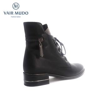 Image 3 - VAIR MUDO2020 Autumn Ankle Boots Women Shoes High Quality Cow Leather  Elegant Round Toe Low Heels classic lady Boots Shoes  DX3
