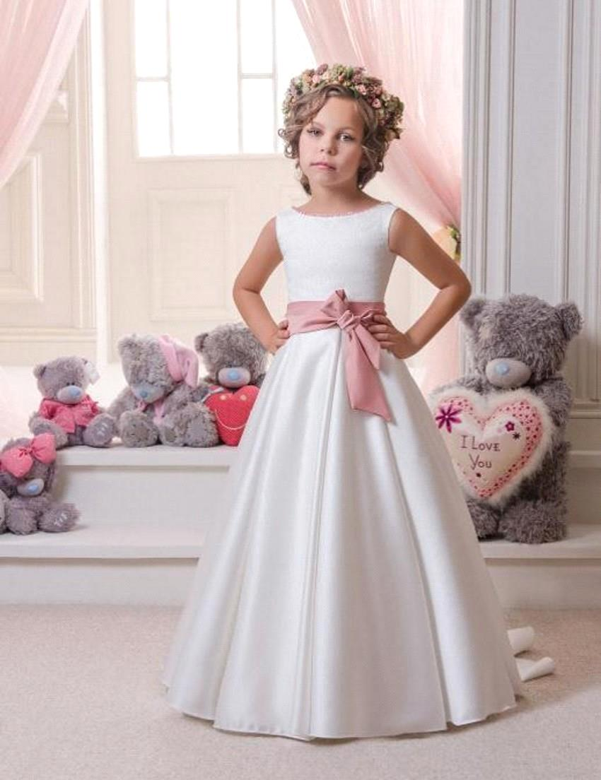 2018 Tank Sleeveless Sweep Train First Communion   Dresses   For   Girls   White/Ivory A-line Satin   Flower     Girl     Dresses   For Weddings