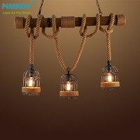 Pearmon Loft Vintage Rural Pendant Light Hemp Rope Bamboo Iron Cage Pendant Lamp Hand Knitted Lighting Fixture Restaurant Dining