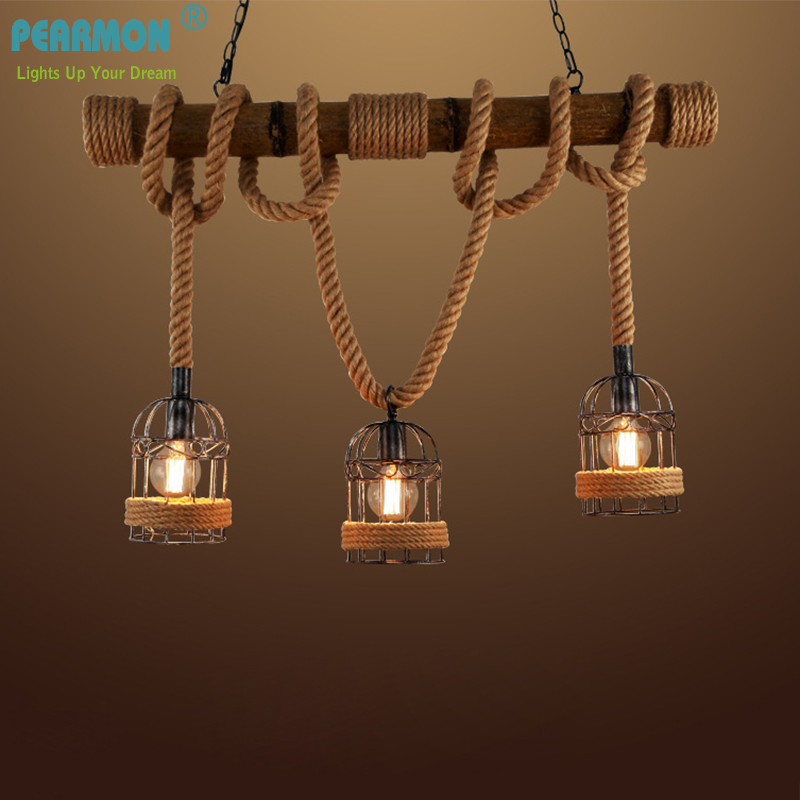 Pearmon Loft Vintage Rural Pendentif Lumière Chanvre Corde Bambou Cage De Fer Pendentif Lampe Main Tricoté Luminaire Restaurant À Manger