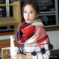 Newest Winter Scarf Female Korean Patchwork Plaid Fur Ball Charm Thick Long Warmth Imitation Cashmere Scarves for Women 190*70cm