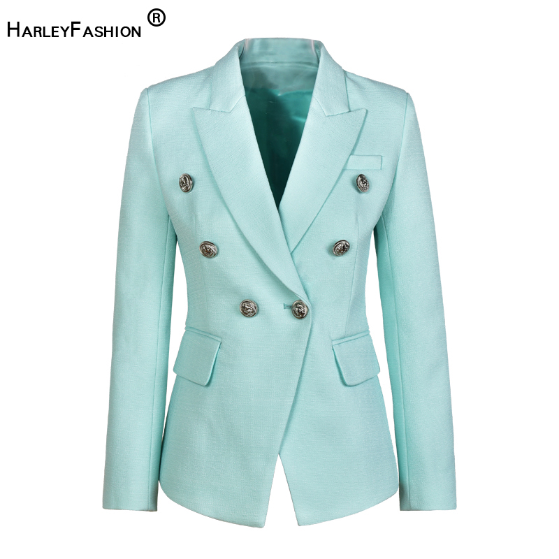 Newest Brand New Unique Designer European American Women Slim Quality Double Breasted Runway Blazer Plus Size Blazers