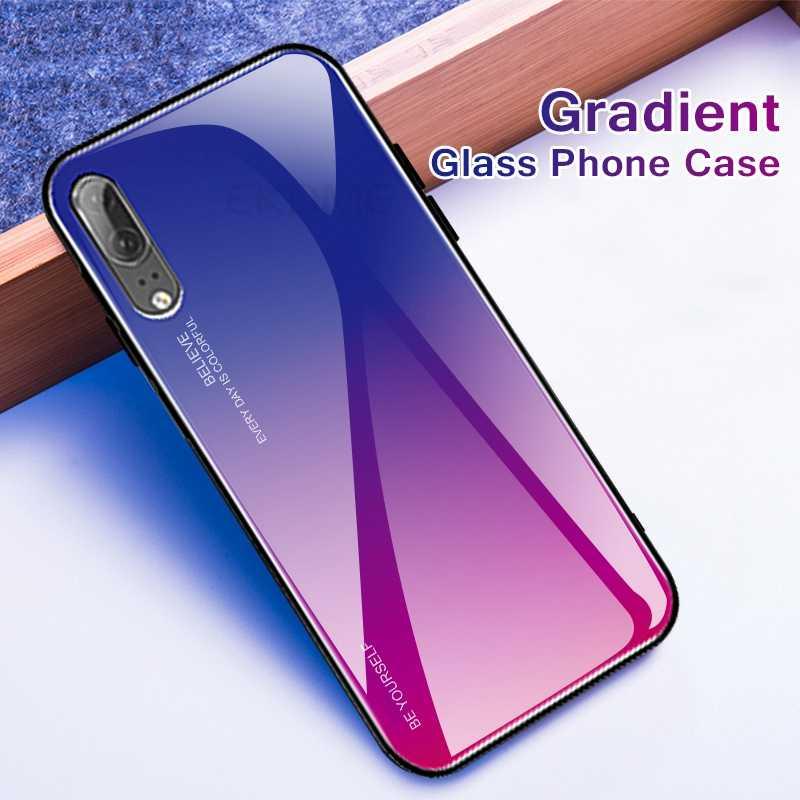 Чехол для телефона с градиентным стеклом для huawei P20 Pro P20 Lite P30, жесткий стеклянный чехол для huawei Nova 4 3E 3i 2i, чехол из закаленного стекла