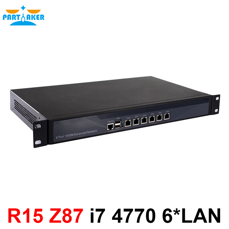 Desktops Server 1U Firewall Pfsense 1U Firewall Router With 6 Gigabit LAN Intel Quad Core I7 4770 3.9Ghz Wayos PFSense ROS