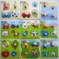 5 pçs/lote quebra-cabeças de madeira para brinquedos educativos 1 2 3 anos brinquedos de madeira para crianças animais quebra-cabeça de frutas criança brinquedos