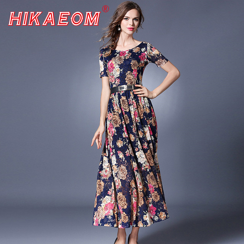 2018 summer new fill floral dresses woman o neck belt rushed short sleeve mid calf length