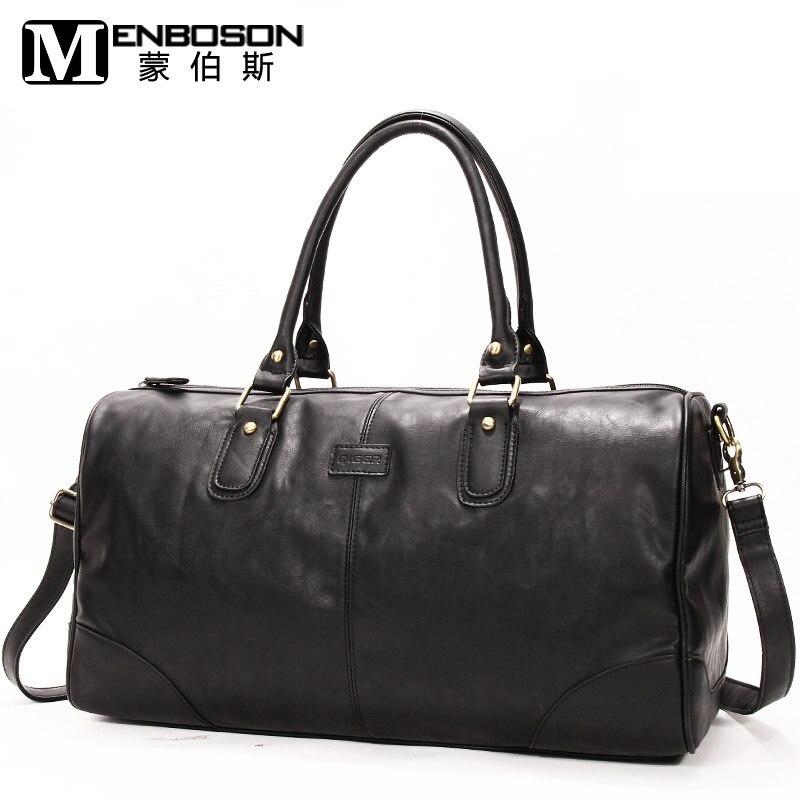 Womens black leather weekend bag