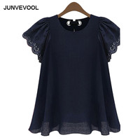 Kawaii Vintage Loose Tees Plus Size Hallow Out Sexy Flare Sleeve Retro Tshirts S Hort Sleeve