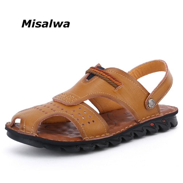 fe34e90aee631 Misalwa Men Genuine Leather Sandals Brown Black Khaki Toe Protect Hollow  out Breathable Beach Sandals Slippers 38-44 Size 2019