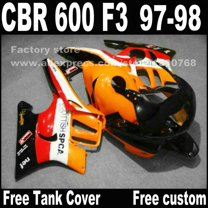 Motorcycle parts for HONDA CBR 600 F3 fairings 1997 1998 CBR600 F3 97 98 red black yellow fairing kit plastic sets