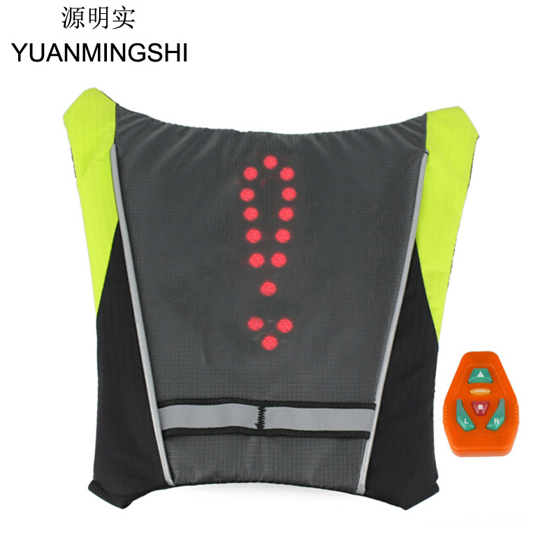 YUANMINGSHI Mootorratas Jalgrattasõit Reflective Safety Vest Mootorratas Reflective Safety Vest LED Seljakott Vest Lamp Bicycle Light