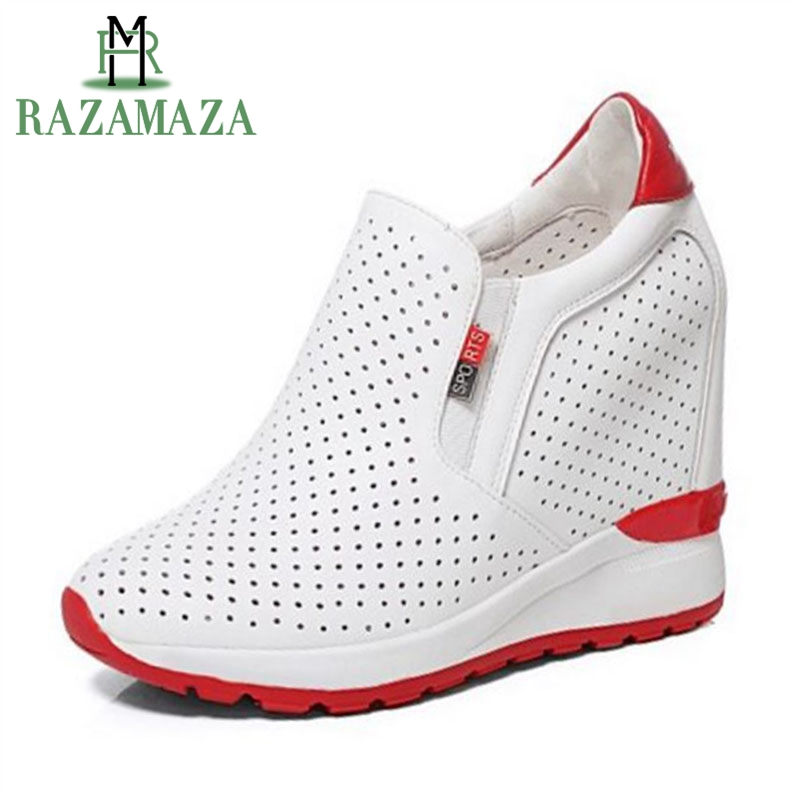 ZALAVOR Simple Women Real Genuine Leather High Wedges Shoes Women Inside Heel Hallw Out Pumps Leisure