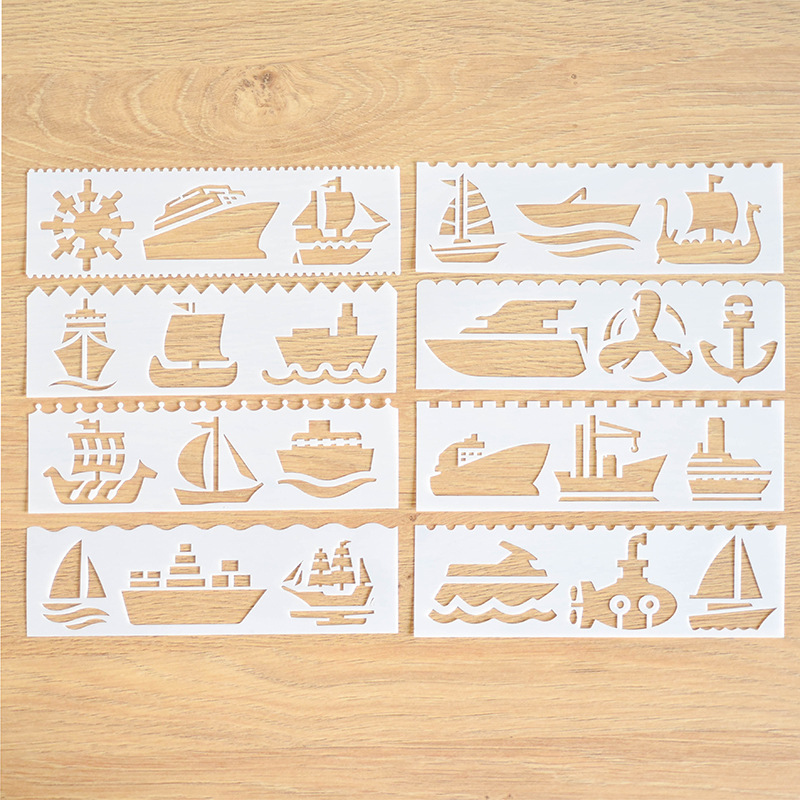 8 Pcs/lot Ship Layering Stencils For Walls Painting Drawing Ruler DIY Scrapbooking Stamp Decoration Embossing Crafts