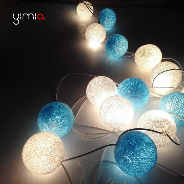 YIMIA 2017 White Blue Cotton Ball String Light Garland Led Fairy