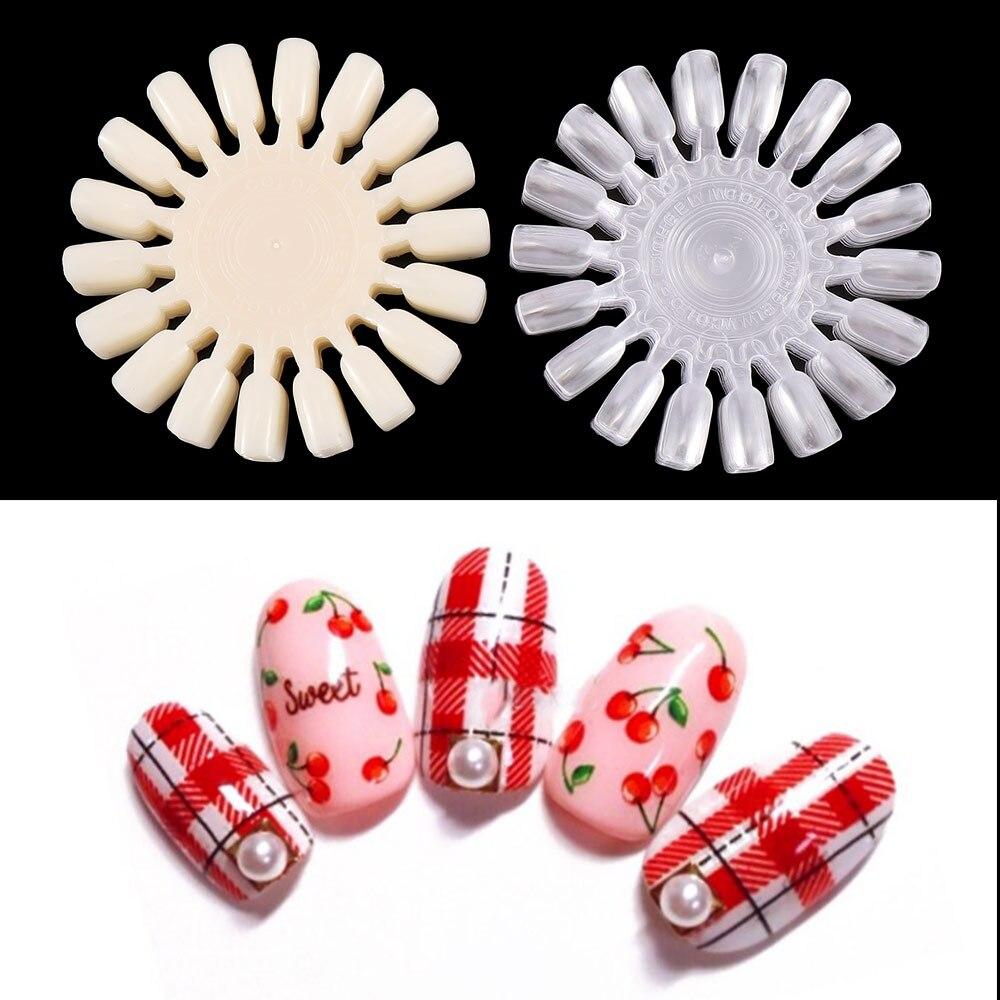 10Pcs Women Natural White DIY False Nail Art Tips Display Practice Polish Wheel Board Tools Fake Nails Beauty Accessories