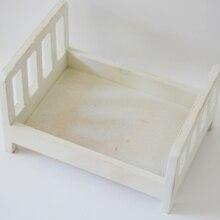 Fotografía de bebé posando de madera cama fotografía de recién nacido accesorios Vintage nido de bebé sesión de fotos # P2191