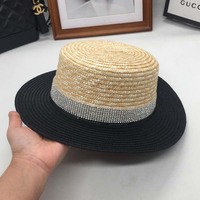 Spring Summer Flat Straw Color Matching Straw Hat Fashion Tide Female Fresh And Sun Shading Beach