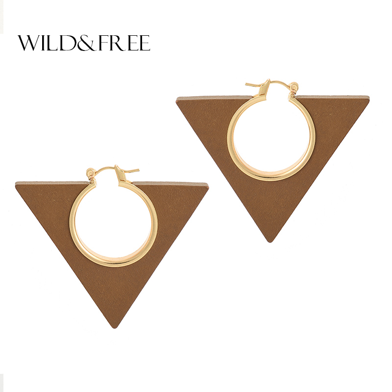 Wild&Free Fashion Jewelry Triangle Wooden Earrings For Women Party Jewelry High Quality Gold Copper Hollow Dangle Drop Earrings