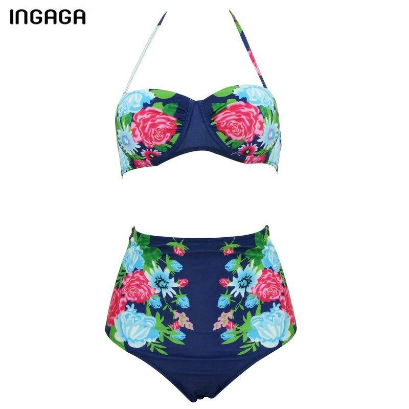 INGAGA 2018 Sexy Bikini Set High Waist Swimsuit Swimwear Women Floral Strap Push Up biquini Beachwear Bathing Suits