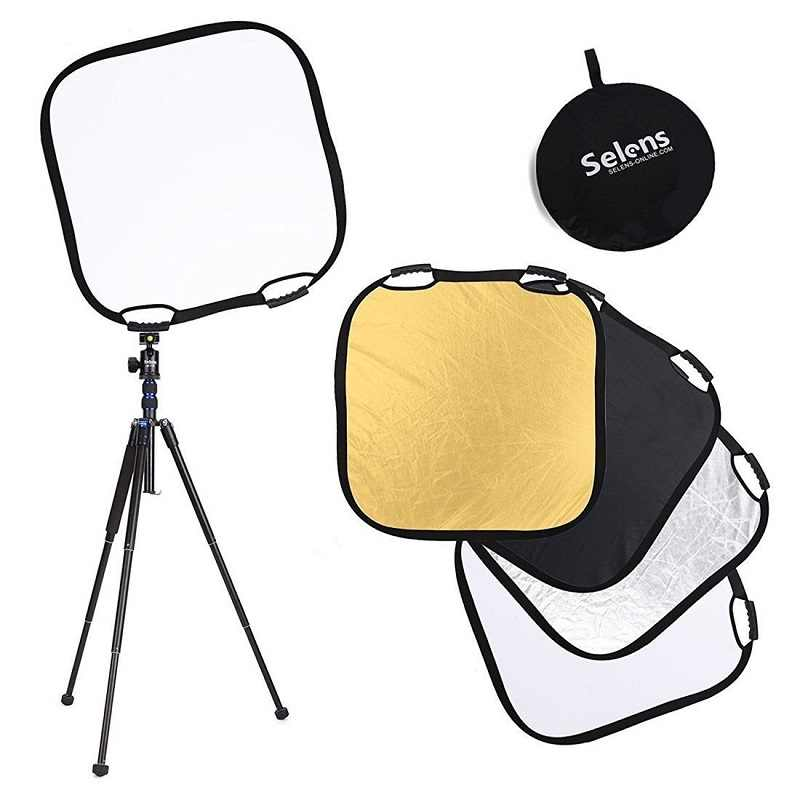 "Selens Photography Photo Reflector 80*80cm/32"" 5in1 Light Square Mulit Collapsible Portable Reflector"