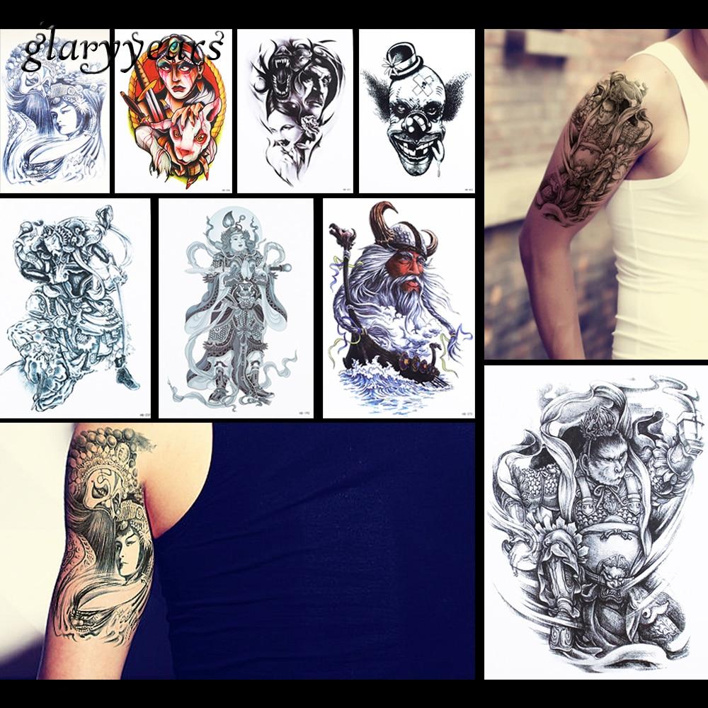 8 pieces orang pola desain stiker tato temporer abadi marshal badut decal body art tattoo stiker kualitas tinggi hb 50 di sementara tato dari kecantikan