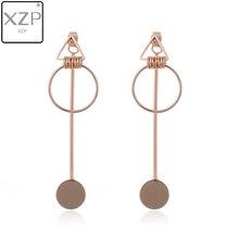 XZP Korea Earrings Jewelry Temperament Simple Retro Long Circle Ear Line Geometric For Women Statement Drop