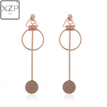 XZP Korea Earrings Jewelry Temperament Simple Retro Long Circle Ear Line Geometric Earrings For Women Statement Drop Earrings(China)