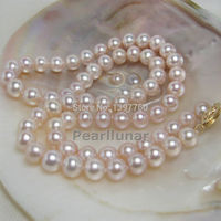 Miss charm 10 11MM OUTSTANDING luster lavender pearl necklace Solid good Gold (A0322)