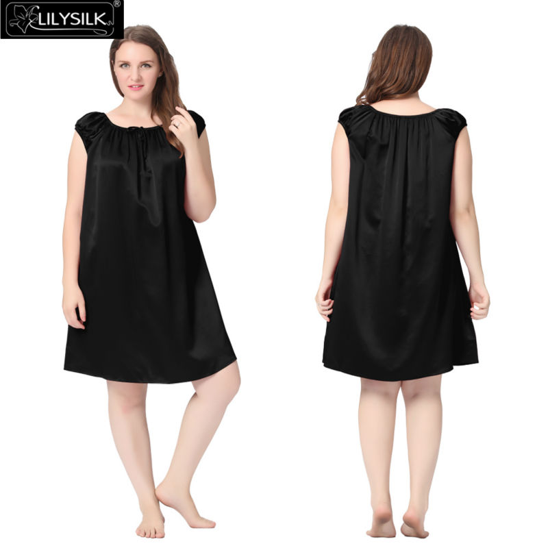 1000-black-22-momme-mid-length-silk-nightgown-with-tied-bust-plus-size-01