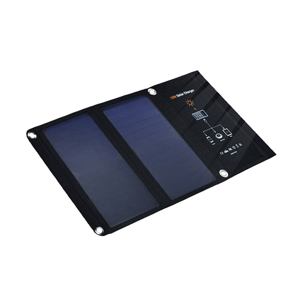 15W Portable Solar Charger Waterproof Sunpower Solar Panels Dual USB Ports Solar Charger Power Bank for Iphone 6 6S 7 7S plus