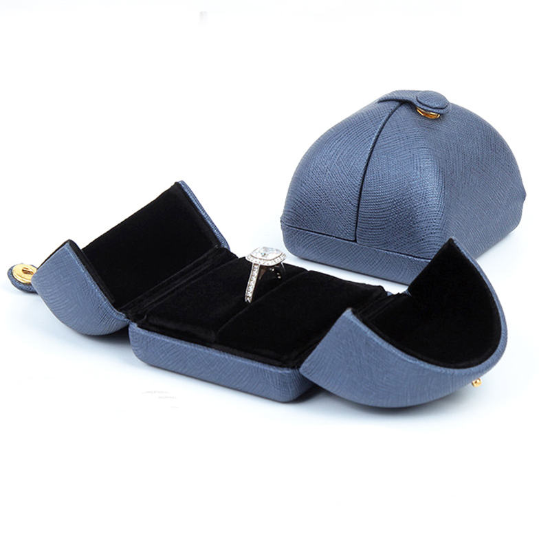 7x6.5x6cm 10pcs/lot Jewelry Earring Ring Gift Box Blue Color Ring Velvet Double Open Button Jewelry Packaging Gift Box H2204