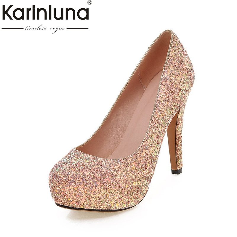 KARINLUNA Large Size 34-43 Sequined Upper Thin High Heeled Women Shoes Sexy Pink Black White Wedding Party Pumps Platform alfani new bright white sequined chevron print blouse women s size xs $69 384