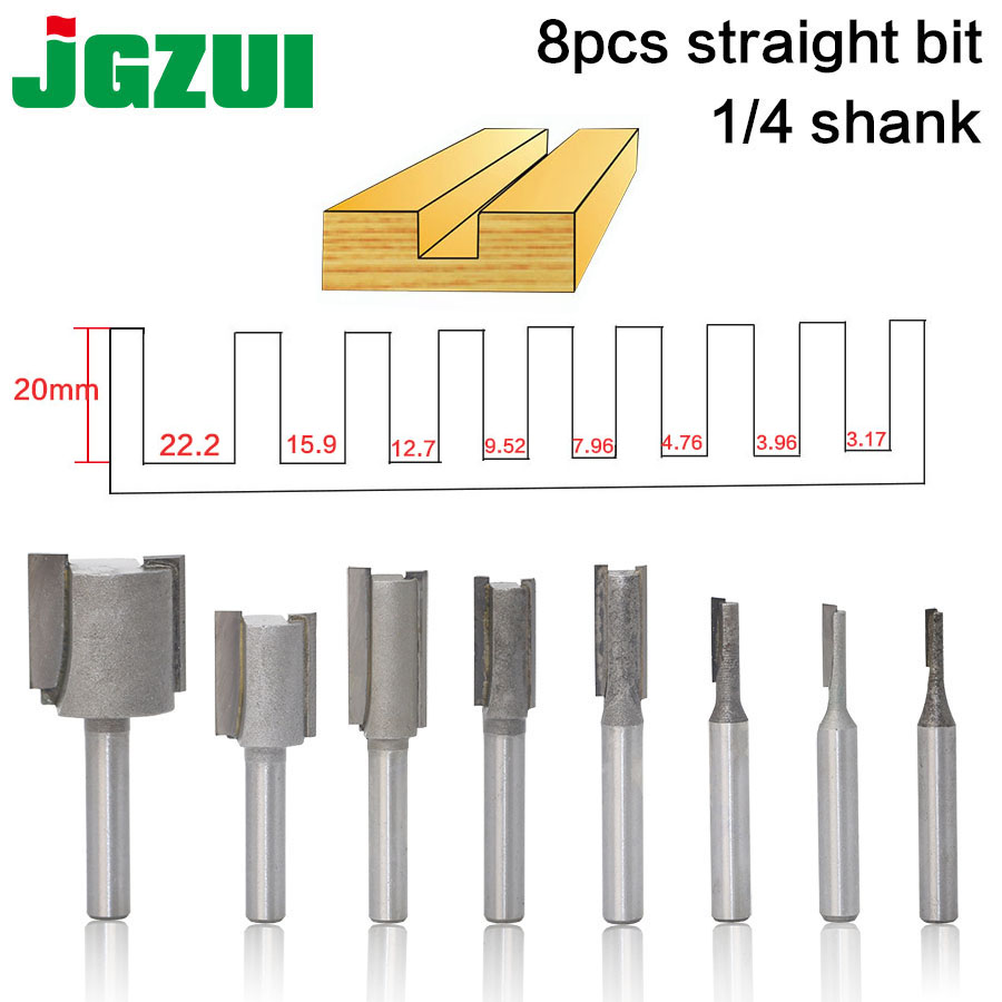 1PC 1/4 Shank high quality Straight/Dado Router Bit Set Diameter Wood Cutting Tool 1pc 8mm shank straight router bit set 6 8 10 12 14 18 20mm cutting diameter for turning lathe machine mayitr woodworking tool