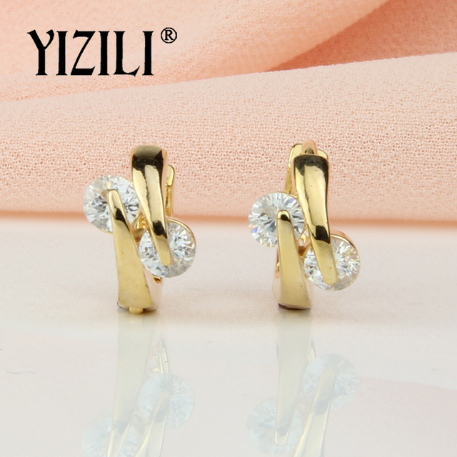 YIZILI New Arrivals Simple Fashion 2 colour Round Dangle Earrings Natural Zircon RU Hot Party Wedding Jewelry A042