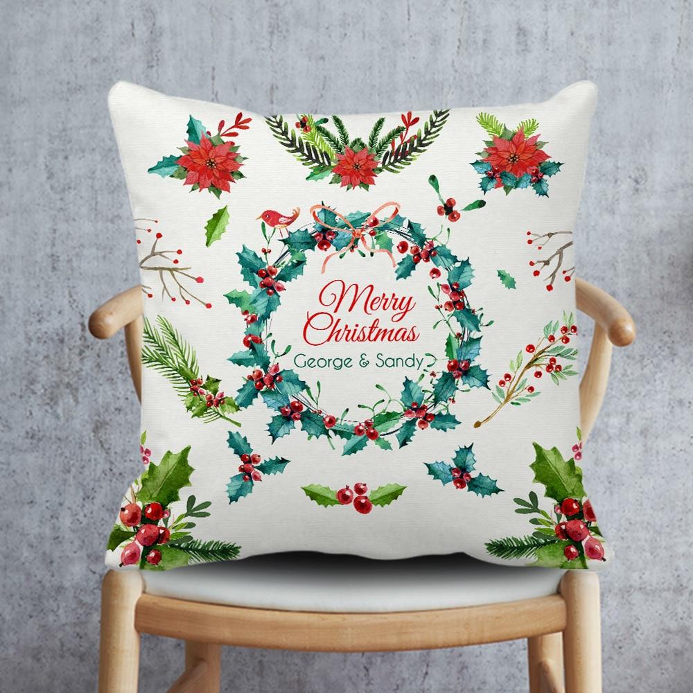 Christmas <font><b>Cushion</b></font> Cover,Custom Name Pillow Case,White Christmas Pillowcase,Flower Decorative Throw Pillow Covers for <font><b>Home</b></font> Decor