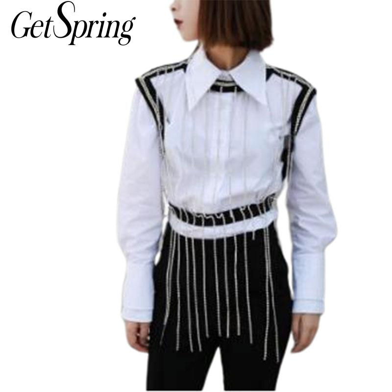 GETSRING Women Shirts Sets Crystal Tassel Vest With Long Sleeve Cotton White Shirt Two Piece Set Women Sets Clothes Fashion