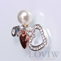 Rose Golden Color Heart Simulated Pearl Charm Lobster Clasp Thomas Style Pendant Accessories For Ladies Gift
