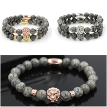 2018 New Fashion Vintage Charm Lion Head Men Bracelet Classic Marble Stone Bead Bracelets & Bangles For Men Women Jewelry Gift цена
