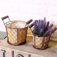 Free Shipping! 2pcs/lot Vintage Style Metal Flower Pot with Linen Flower Bags Plant & Flowers Vase Sundries Box Home Deco