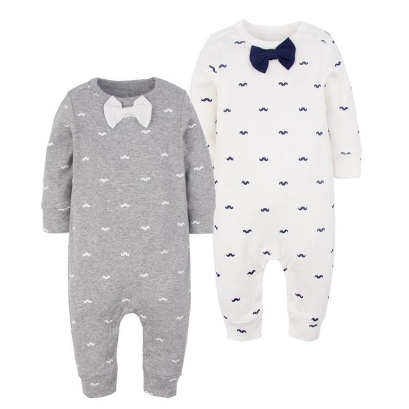 New Spring Autumn Baby Boys Beard Print Bowtie Cotton Romper Infant Gentleman Long Sleeve Jumpsuit Newborn Bebe Stitch Costume