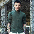 Мужчины С Длинным Рукавом Рубашки Повседневные Мужчины Китайский Стиль Хлопок Белье Воротник Полосатый Slim Fit Рубашки Панк Плюс Размер M-3XL Q457