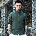 Los hombres de Manga Larga Camisas Casuales de Los Hombres Chinos de Lino de Algodón de Estilo Collar del soporte Slim Fit A Rayas Camisa Punk Más El Tamaño M-3XL Q457