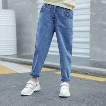 Новинка; сезон весна-осень; Детские хлопковые однотонные джинсовые леггинсы для девочек; Одежда для маленьких девочек; штаны-шаровары; детские свободные джинсовые брюки для девочек; Y44