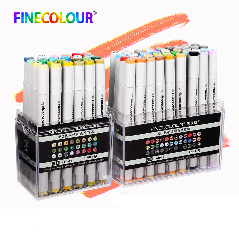 Finecolour Professional Permanent Art Markers Pen Alcohol Based Lnk Manga Marker For Drawing 24/36/48/60/72 Standard SetFinecolour Professional Permanent Art Markers Pen Alcohol Based Lnk Manga Marker For Drawing 24/36/48/60/72 Standard Set